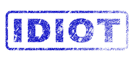 Idiot tag rubber seal imprint for watermarks. Blue Vector. 矢量图像