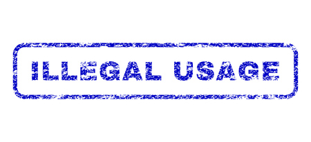 usage: Illegal USAge message dirty seal stamp for watermarks. Blue Vector.