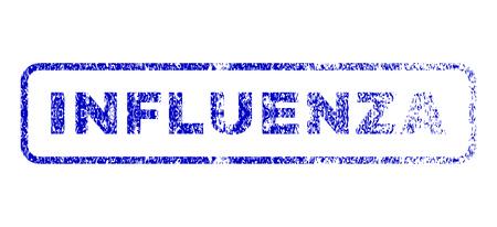 influenza: Influenza text grunge seal imprint for watermarks. Blue Vector.