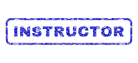 Instructor caption dirty seal stamp for watermarks. Blue Vector. Stock Illustratie