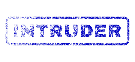 invader: Intruder text dirty seal imprint for watermarks. Blue Vector. Illustration