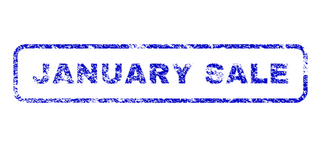 January Sale text rubber seal imprint for watermarks. Blue Vector.