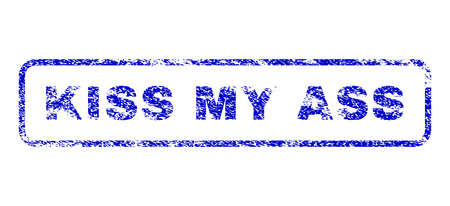 jackass: Kiss My Ass message scratched seal stamp for watermarks. Blue Vector.