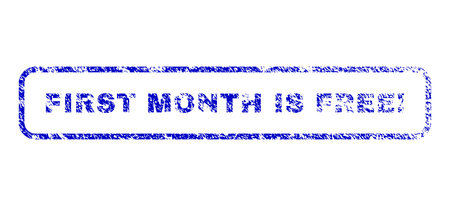 First Month Is Free! text rubber seal stamp for watermarks. Blue Vector.