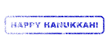 Happy Hanukkah! text rubber seal imprint for watermarks. Blue Vector.