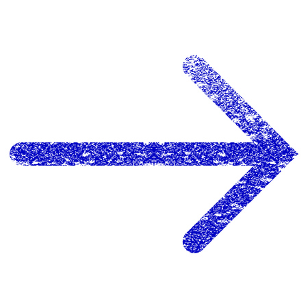 Arrow Right grunge textured icon. Flat style with unclean texture. Corroded vector blue rubber seal stamp style. Designed for overlay watermark stamp elements with grainy design.