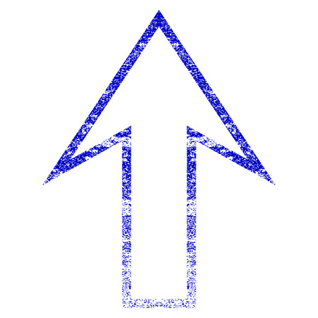Arrow Up grunge textured icon. Flat style with scratched texture. Corroded vector blue rubber seal stamp style. Designed for overlay watermark stamp elements with grainy design. Illustration
