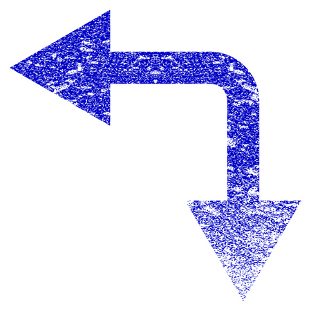 moving down: Bifurcation Arrow Left Down grunge textured icon. Flat style with dirty texture. Corroded vector blue rubber seal stamp style. Designed for overlay watermark stamp elements with grainy design.