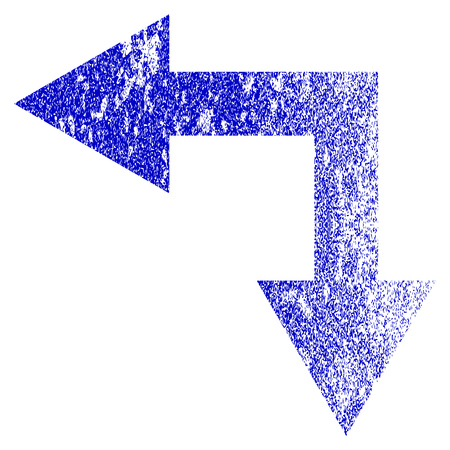Bifurcation Arrow Left Down grunge textured icon. Flat style with dust texture. Corroded vector blue rubber seal stamp style. Designed for overlay watermark stamp elements with grainy design.