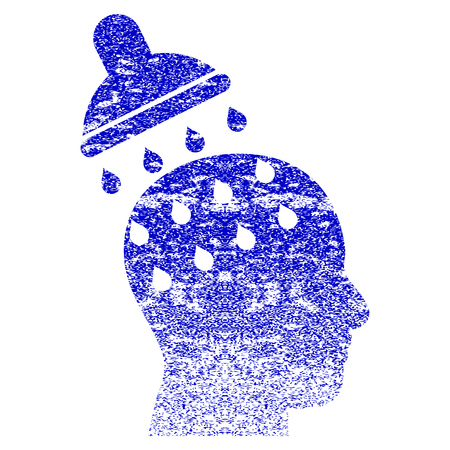 persuasion: Brain Washing grunge textured icon. Flat style with unclean texture. Corroded vector blue rubber seal stamp style. Designed for overlay watermark stamp elements with grainy design.