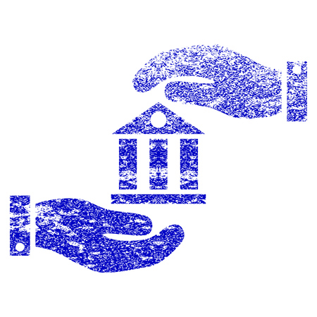 Bank Service grunge textured icon. Flat style with scratched texture. Corroded vector blue rubber seal stamp style. Designed for overlay watermark stamp elements with grainy design.