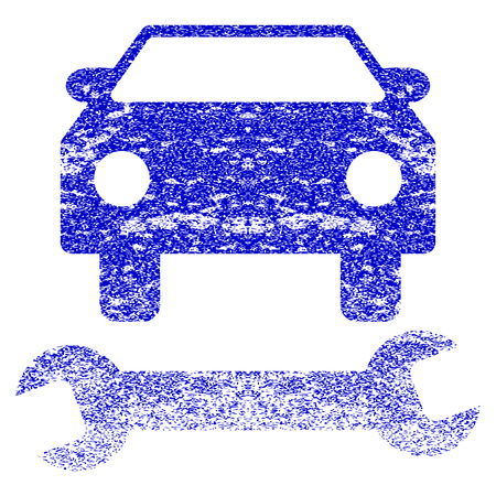 Car Repair grunge textured icon. Flat style with dust texture. Corroded vector blue rubber seal stamp style. Designed for overlay watermark stamp elements with grainy design. Illustration