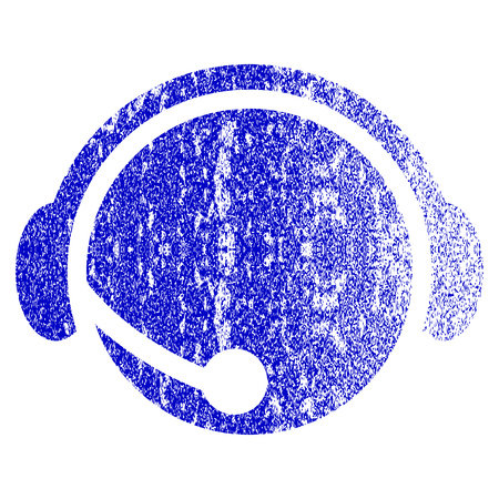 Call Center Operator grunge textured icon. Flat style with unclean texture. Corroded vector blue rubber seal stamp style. Designed for overlay watermark stamp elements with grainy design. Illustration