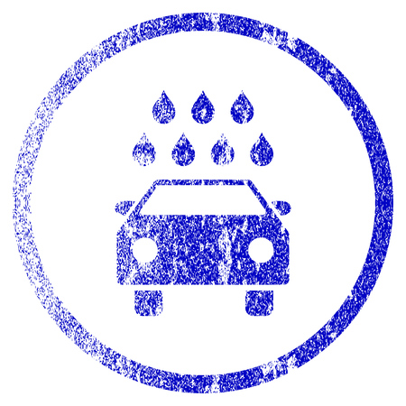 Car Shower grunge textured icon. Flat style with scratched texture. Corroded vector blue rubber seal stamp style. Designed for overlay watermark stamp elements with grainy design. Illustration