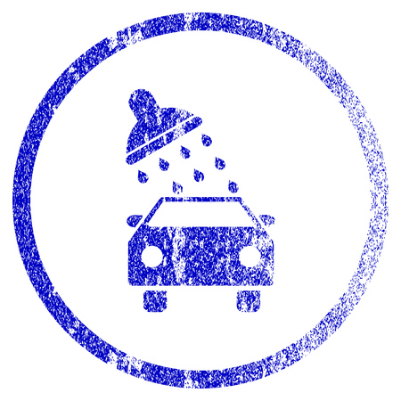 Car Wash grunge textured icon. Flat style with dirty texture. Corroded vector blue rubber seal stamp style. Designed for overlay watermark stamp elements with grainy design.