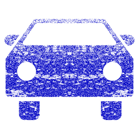 Car grunge textured icon. Flat style with unclean texture. Corroded vector blue rubber seal stamp style. Designed for overlay watermark stamp elements with grainy design. Illustration