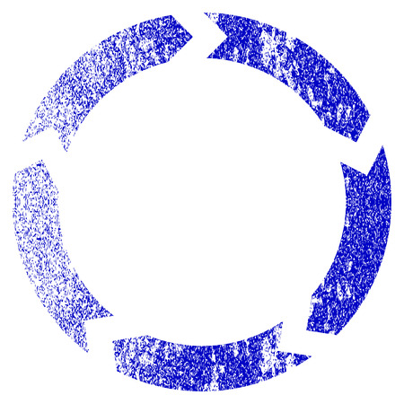 cíclico: Circulation grunge textured icon. Flat style with dirty texture. Corroded vector blue rubber seal stamp style. Designed for overlay watermark stamp elements with grainy design.