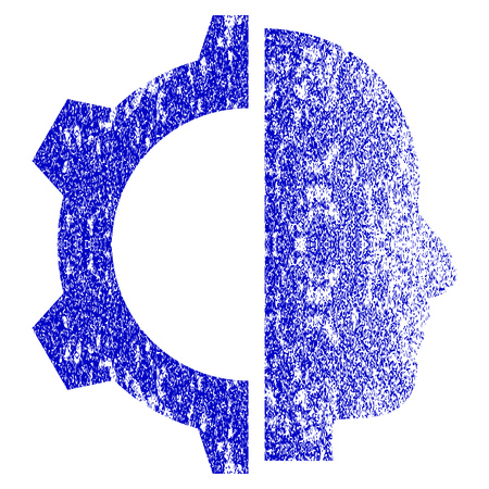 Cyborg Gear grunge textured icon. Flat style with scratched texture. Corroded vector blue rubber seal stamp style. Designed for overlay watermark stamp elements with grainy design.