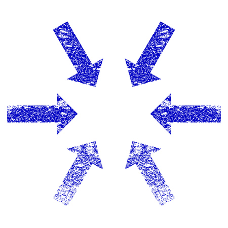 compress: Compact Arrows grunge textured icon. Flat style with dust texture. Corroded vector blue rubber seal stamp style. Designed for overlay watermark stamp elements with grainy design.