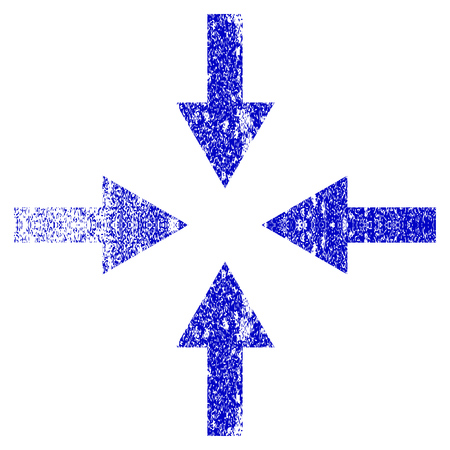 Compress Arrows grunge textured icon. Flat style with dust texture. Corroded vector blue rubber seal stamp style. Designed for overlay watermark stamp elements with grainy design.