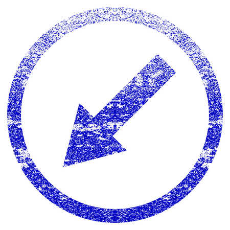 moving down: Down-Left Rounded Arrow grunge textured icon. Flat style with scratched texture. Corroded vector blue rubber seal stamp style. Designed for overlay watermark stamp elements with grainy design.