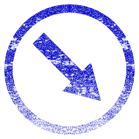 moving down: Down-Right Rounded Arrow grunge textured icon. Flat style with dust texture. Corroded vector blue rubber seal stamp style. Designed for overlay watermark stamp elements with grainy design. Illustration