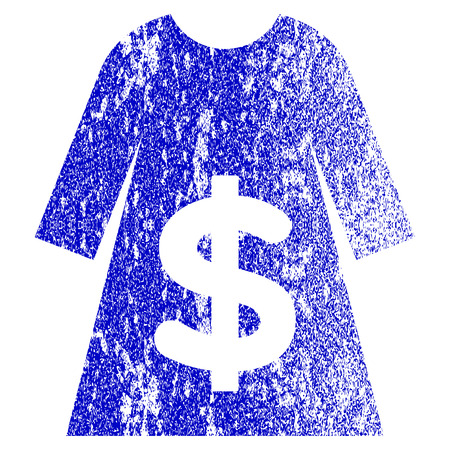 Dress Sale grunge textured icon. Flat style with dirty texture. Corroded vector blue rubber seal stamp style. Designed for overlay watermark stamp elements with grainy design.