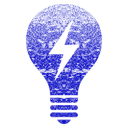 Electric Bulb grunge textured icon. Flat style with scratched texture. Corroded vector blue rubber seal stamp style. Designed for overlay watermark stamp elements with grainy design.