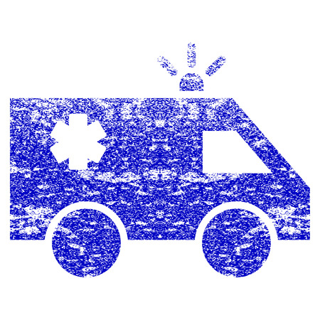 dirty car: Emergency Car grunge textured icon. Flat style with unclean texture. Corroded vector blue rubber seal stamp style. Designed for overlay watermark stamp elements with grainy design. Illustration