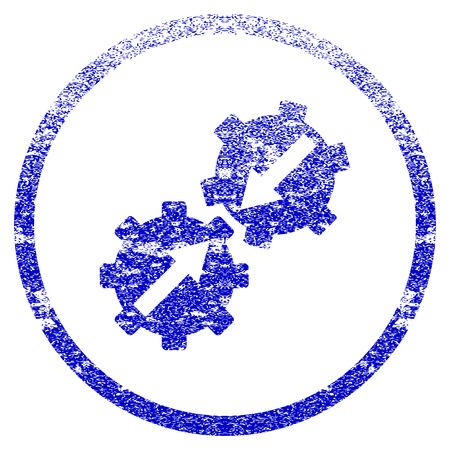 Gear Integration grunge textured icon. Flat style with dirty texture. Corroded vector blue rubber seal stamp style. Designed for overlay watermark stamp elements with grainy design.