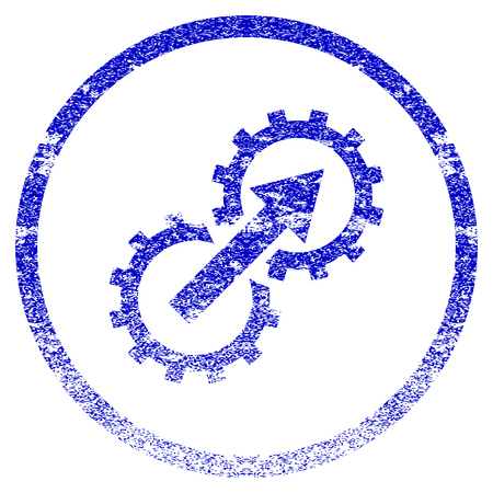 Gear Integration grunge textured icon. Flat style with dust texture. Corroded vector blue rubber seal stamp style. Designed for overlay watermark stamp elements with grainy design.