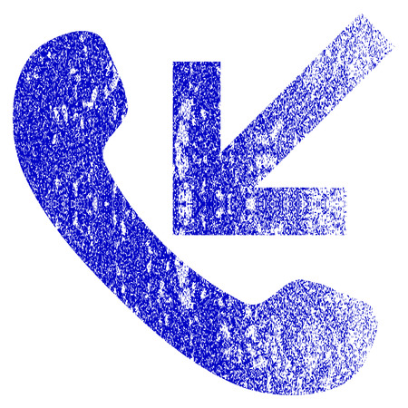 old phone: Incoming Call grunge textured icon. Flat style with dirty texture. Corroded vector blue rubber seal stamp style. Designed for overlay watermark stamp elements with grainy design. Illustration