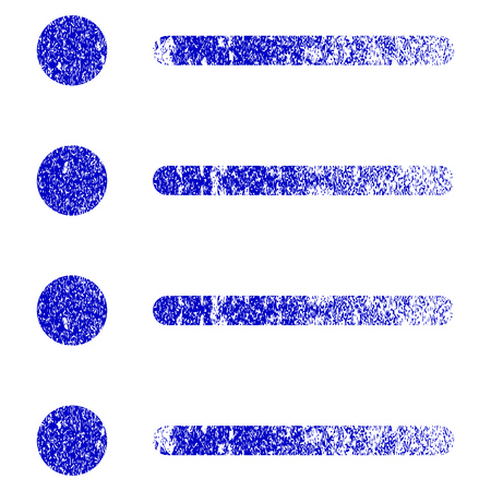 numerate: Items grunge textured icon. Flat style with unclean texture. Corroded vector blue rubber seal stamp style. Designed for overlay watermark stamp elements with grainy design.