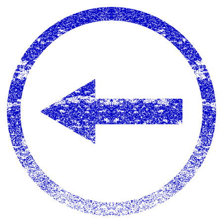 Left Rounded Arrow grunge textured icon. Flat style with dust texture. Corroded vector blue rubber seal stamp style. Designed for overlay watermark stamp elements with grainy design. Illustration