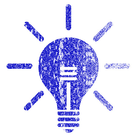 Light Bulb grunge textured icon. Flat style with dirty texture. Corroded vector blue rubber seal stamp style. Designed for overlay watermark stamp elements with grainy design. Çizim