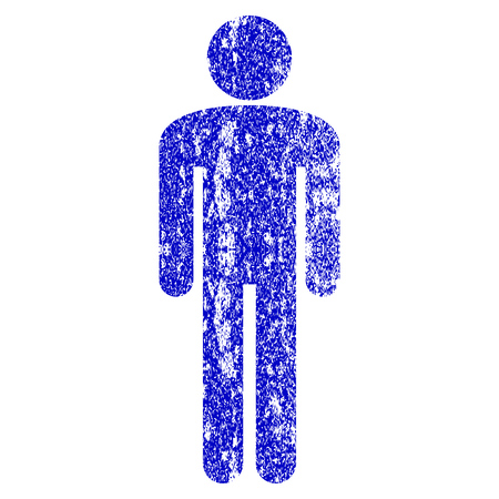 Man grunge textured icon. Flat style with unclean texture. Corroded vector blue rubber seal stamp style. Designed for overlay watermark stamp elements with grainy design.