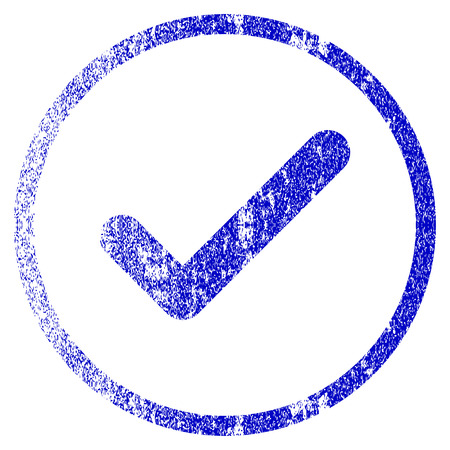 valid: Ok grunge textured icon. Flat style with dust texture. Corroded vector blue rubber seal stamp style. Designed for overlay watermark stamp elements with grainy design. Illustration