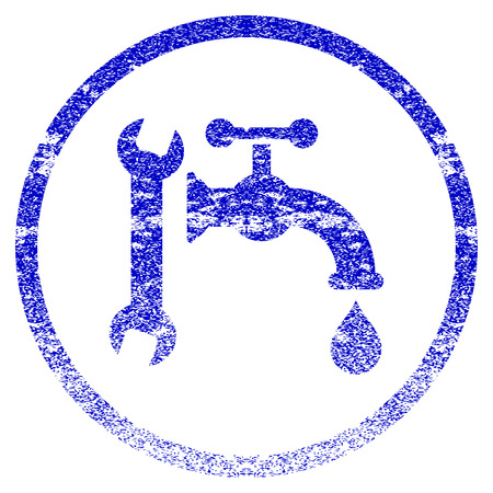 renovate: Plumbing grunge textured icon. Flat style with dirty texture. Corroded vector blue rubber seal stamp style. Designed for overlay watermark stamp elements with grainy design.