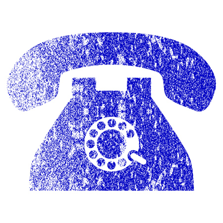 Pulse Phone grunge textured icon. Flat style with scratched texture. Corroded vector blue rubber seal stamp style. Designed for overlay watermark stamp elements with grainy design.