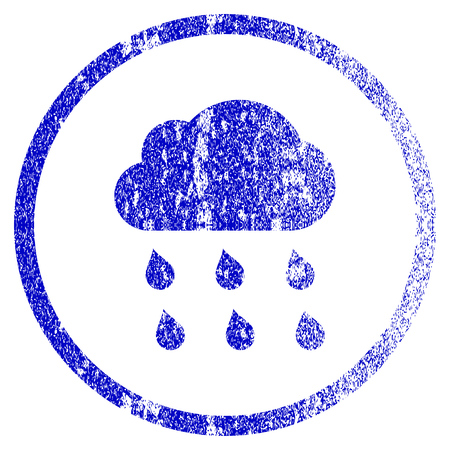 overcast: Rain Cloud grunge textured icon. Flat style with dust texture. Corroded vector blue rubber seal stamp style. Designed for overlay watermark stamp elements with grainy design.