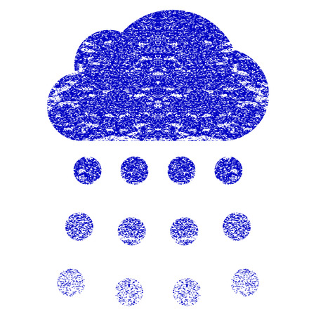 watery: Rain Cloud grunge textured icon. Flat style with dust texture. Corroded vector blue rubber seal stamp style. Designed for overlay watermark stamp elements with grainy design.