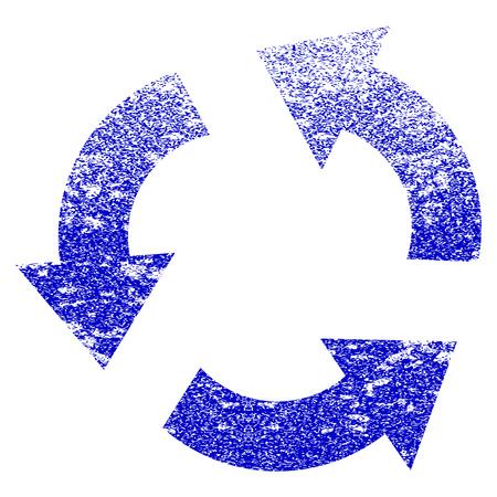 Reciclar icono con textura grunge. Estilo plano con textura sucia. Corroído vector azul sello de goma sello estilo. Diseñado para elementos de sello de marca de agua superpuestos con diseño granulado. Vectores