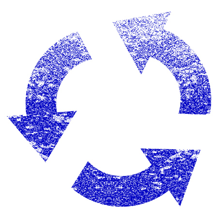 Recycle grunge textured icon. Flat style with dirty texture. Corroded vector blue rubber seal stamp style. Designed for overlay watermark stamp elements with grainy design. Illustration