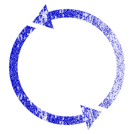 dispose: Recycle grunge textured icon. Flat style with dirty texture. Corroded vector blue rubber seal stamp style. Designed for overlay watermark stamp elements with grainy design. Illustration