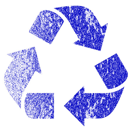 utilization: Recycle grunge textured icon. Flat style with scratched texture. Corroded vector blue rubber seal stamp style. Designed for overlay watermark stamp elements with grainy design. Illustration