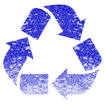 dispose: Recycle grunge textured icon. Flat style with dust texture. Corroded vector blue rubber seal stamp style. Designed for overlay watermark stamp elements with grainy design.