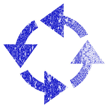 cíclico: Recycle grunge textured icon. Flat style with dirty texture. Corroded vector blue rubber seal stamp style. Designed for overlay watermark stamp elements with grainy design. Vectores