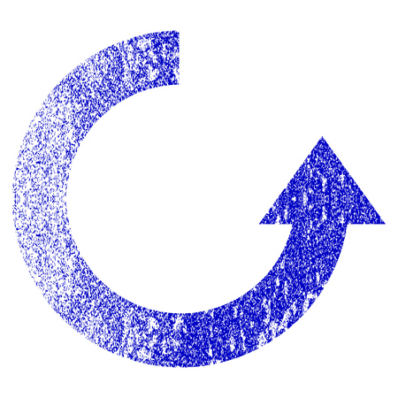 Rotate Up grunge textured icon. Flat style with scratched texture. Corroded vector blue rubber seal stamp style. Designed for overlay watermark stamp elements with grainy design.