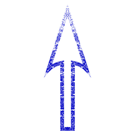 direct: Sharp Arrow Up grunge textured icon. Flat style with unclean texture. Corroded vector blue rubber seal stamp style. Designed for overlay watermark stamp elements with grainy design.