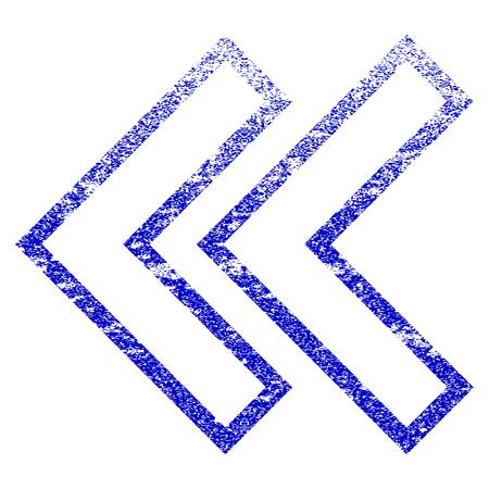 Shift 왼쪽 grunge 질감 된 아이콘입니다. 플랫 스타일의 먼지 질감. 부식 된 벡터 파란색 고무 도장 스탬프 스타일입니다. 오버레이 설계 낟 알이있는 디